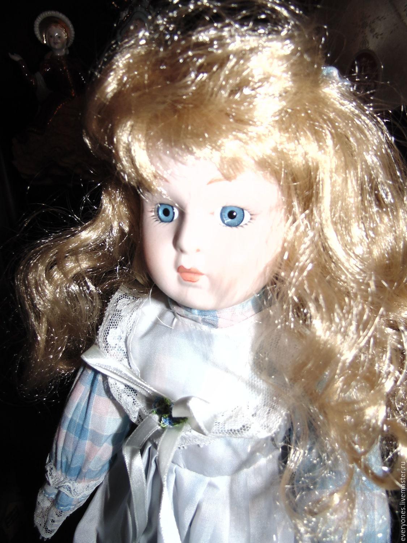 Винтаж: Фарфоровая кукла в голубом, Куклы винтажные, Москва,  Фото №1