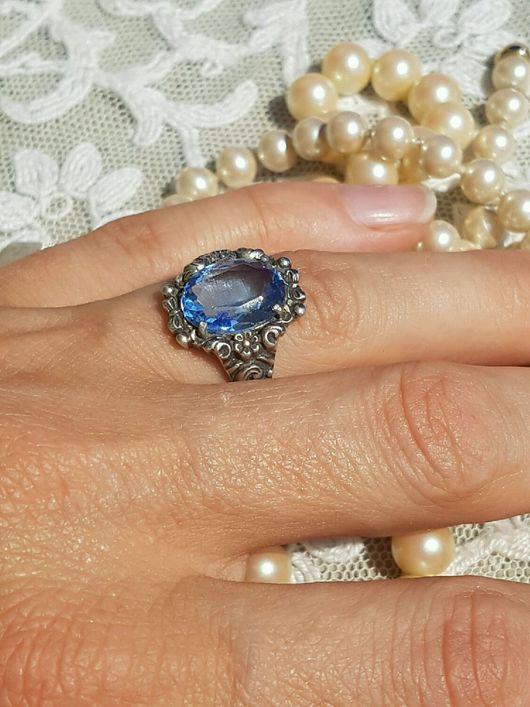 Винтажные украшения. Ярмарка Мастеров - ручная работа. Купить Старинное серебряное кольцо с голубым топазом. Handmade. Голубой, топаз, серебро