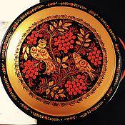 Русский стиль handmade. Livemaster - original item A plate of wood with Khokhloma painting Ryabinushka. Handmade.