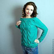 """Одежда ручной работы. Ярмарка Мастеров - ручная работа свитер вязаный женский """"Изумрудные косы """". Handmade."""