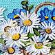Картины цветов ручной работы. Картина вязанная букет цветов фиалки и ромашки в корзине 25 х 30 см. Маскаева Ольга (maskaevadecor). Интернет-магазин Ярмарка Мастеров.