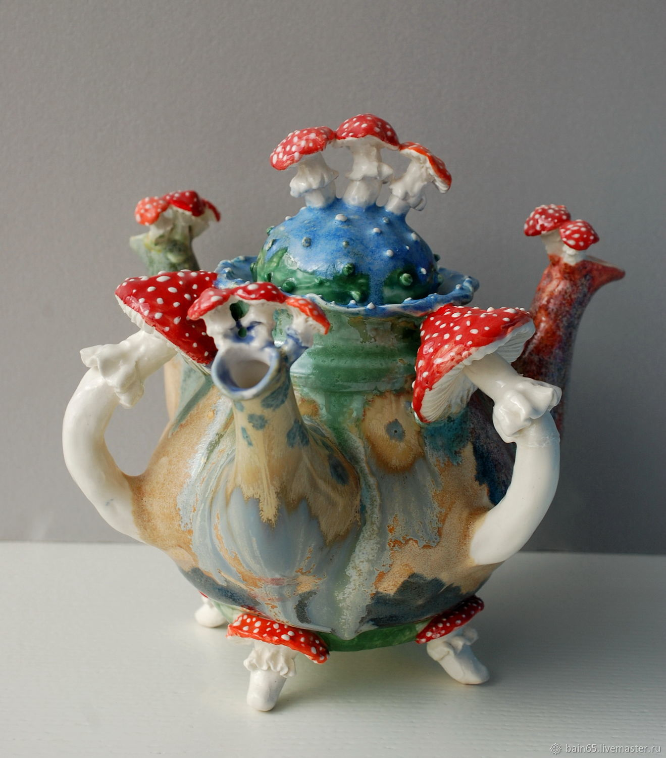 Teapot with three spouts 'fly Agarics', Teapots & Kettles, Moscow,  Фото №1