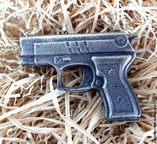 """Мыло ручной работы. Ярмарка Мастеров - ручная работа. Купить Мыло """"Пистолет Мини"""". Handmade. Черный, день мужчин"""