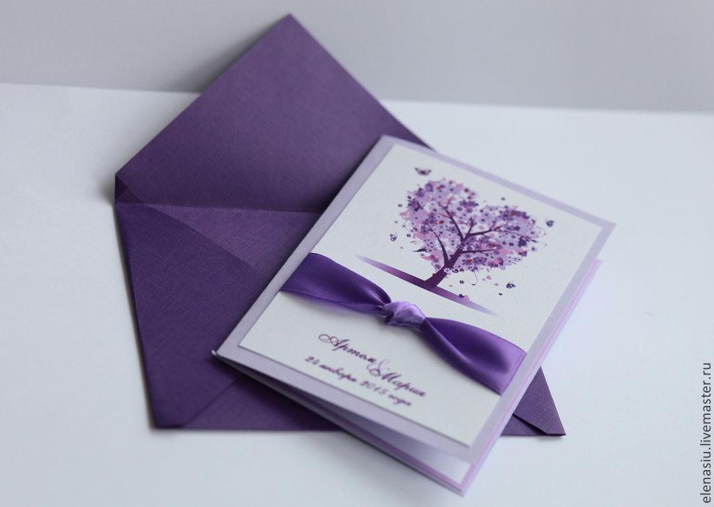 Свадебная открытка в фиолетовых тонах, цветами