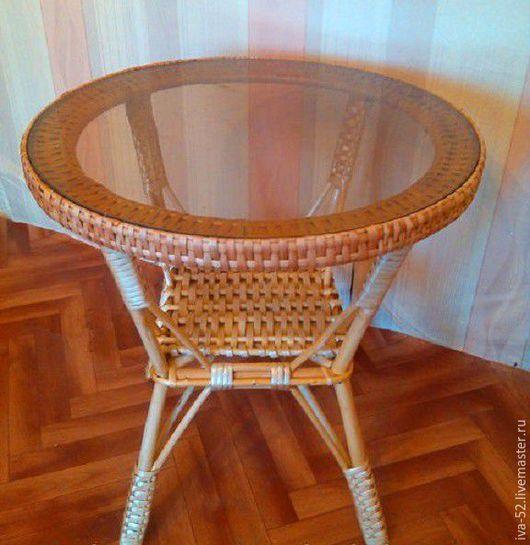 Мебель ручной работы. Ярмарка Мастеров - ручная работа. Купить Стол круглый со столешницей из стекла.. Handmade. Стол, столик