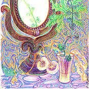 """Картины и панно ручной работы. Ярмарка Мастеров - ручная работа """"Одуванчик и зеркало"""". Handmade."""