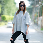 Одежда handmade. Livemaster - original item Women Maxi Soft Cotton Grey striped Tunic Top TP0093CT. Handmade.