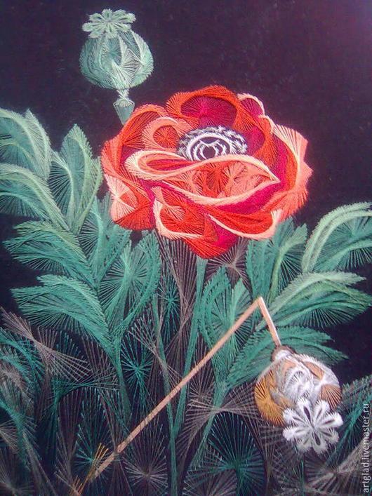 """Картины цветов ручной работы. Ярмарка Мастеров - ручная работа. Купить Вышитая картина """"Мак"""". Handmade. Картина, Вышитая картина"""