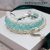 handmade. Livemaster - original item Three-row bracelet made of natural stones
