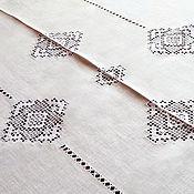 handmade. Livemaster - original item White linen festive tablecloth openwork embroidery stitch. Handmade.