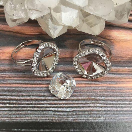 Для украшений ручной работы. Ярмарка Мастеров - ручная работа. Купить 12 мм Основа для кольца для кристалла Swarovski 4470 12мм, родий. Handmade.
