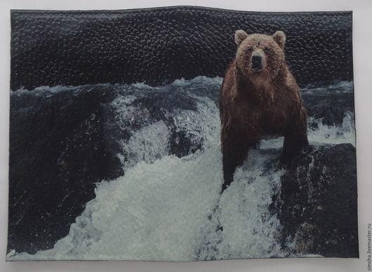 Обложка на паспорт, обложка для паспорта, прикольная обложка, медведь, подарок на любой случай, ручная работа, декупаж