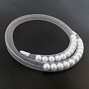 Украшения handmade. Livemaster - original item Copy of Mesh tube necklace with pearls, 2-strand. Handmade.