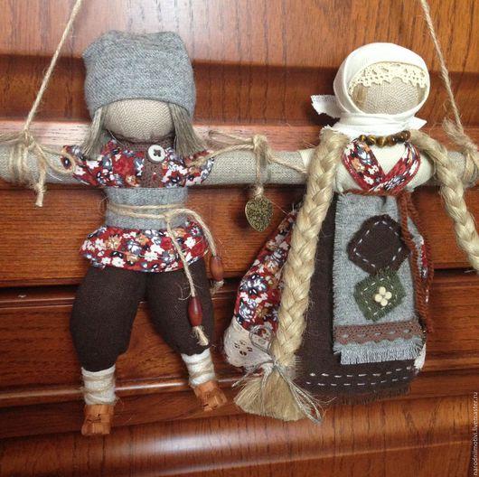 Народная кукла, обережная кукла, Неразлучники, оберег для семьи,оберег на любовь, оберег на счастье,русская кукла, традиционная кукла, коричневый, голубой, зеленый, бежевый, рыжий, серый