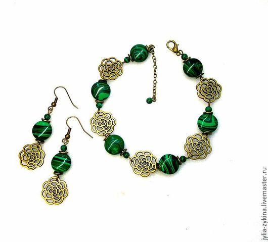 Браслет из малахита натурального. Этот браслет станет хорошим подарком женщине и девушке на любой праздник. браслет и серьги комплект. Браслет зеленый с фурнитурой под бронзу.