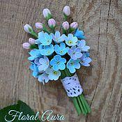 Украшения handmade. Livemaster - original item brooch-a bouquet of forget-me-nots of heavenly color. Handmade.