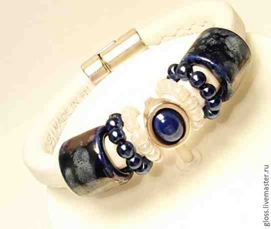 Браслеты ручной работы. Ярмарка Мастеров - ручная работа. Купить Кожаный браслет  Ночная краса. Handmade. Браслет regaliz, подарок
