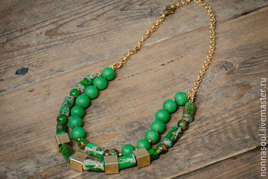 Колье, бусы ручной работы. Ярмарка Мастеров - ручная работа. Купить Двойное зеленое ожерелье с яшмой и матовыми агатами. Handmade.