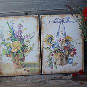 """Для дома и интерьера ручной работы. Ярмарка Мастеров - ручная работа """"Летние цветы"""" панно. Handmade."""