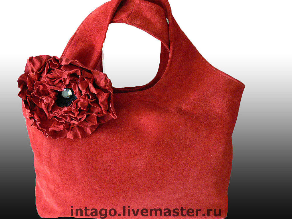 Bag and brooch. 'Red poppy'. (XL) (red suede), Classic Bag, Novosibirsk,  Фото №1