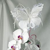Работы для детей, ручной работы. Ярмарка Мастеров - ручная работа Шелковая Бабочка-заколка для первоклашки (продано). Handmade.
