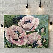"""Картины и панно handmade. Livemaster - original item Oil painting on canvas """"Pink Poppies"""". Handmade."""