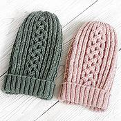Аксессуары handmade. Livemaster - original item Knitted hat with a slap