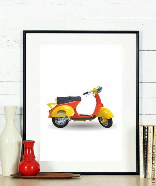 Детская ручной работы. Ярмарка Мастеров - ручная работа. Купить Постер для детской Ретро скутер. Handmade. Постер, постер в детскую