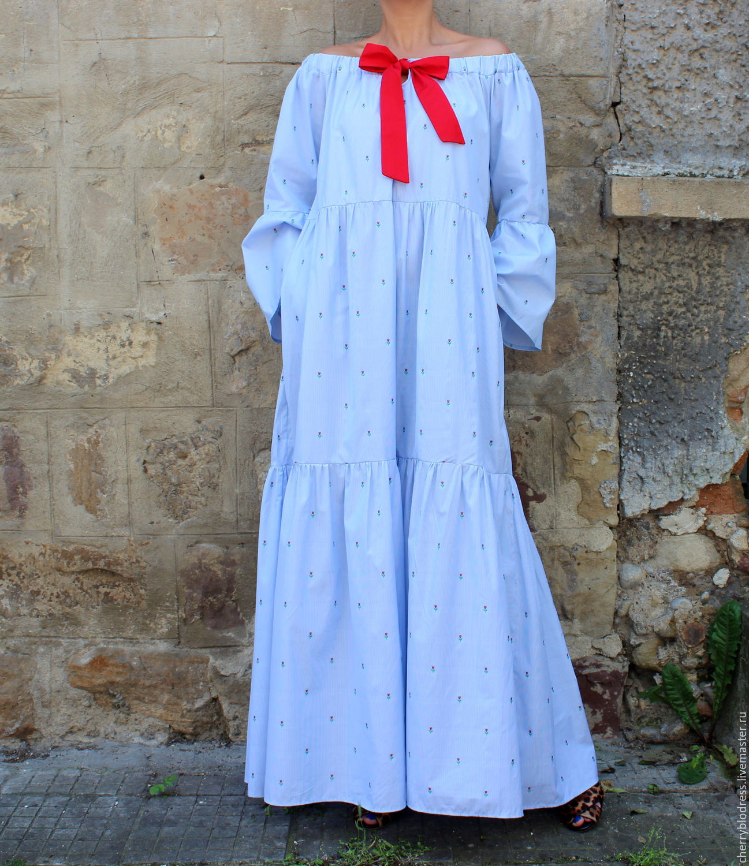 be1436ab719 Ярмарка Мастеров - ручная работа. Купить Голубое в горошек длинное летнее · Платья  ручной работы. Голубое в горошек длинное летнее макси бохо платье с ...