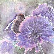 """Картины и панно ручной работы. Ярмарка Мастеров - ручная работа акварельная миниатюра """"Пчелка"""". Handmade."""