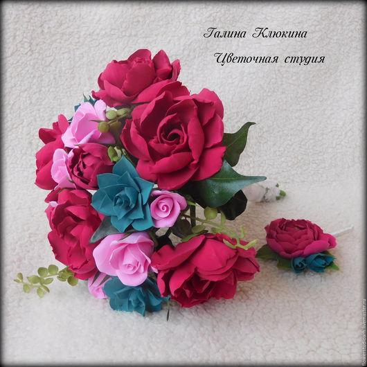 Свадебные цветы ручной работы. Ярмарка Мастеров - ручная работа. Купить Букет невесты из полимерной глины в винном цвете. Handmade.