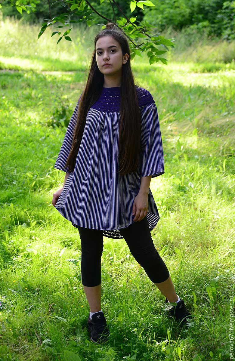 Туника женская летняя Фиолетовая бохо, Блузки, Шатура, Фото №1