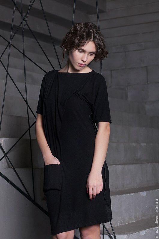 черный цвет черное платье миди мини летнее  платье до колен трикотажное платья дизайнерские платья стильное платье мини платье из трикотажа платье летучая мышь платье с карманом