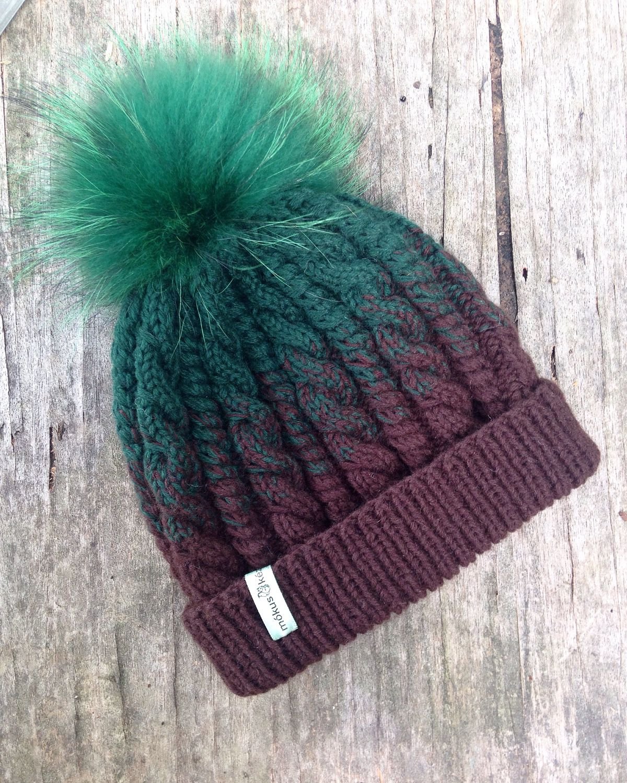 Вяжем шапку с помпоном спицы 64
