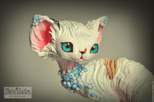 Figurines handmade. Livemaster - handmade. Buy Alex, cat Devon Rex.Dark turquoise, devon rex, ceramic mass