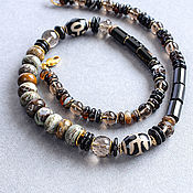 Украшения handmade. Livemaster - original item Necklace and earrings made of jasper, onyx, rauchtopaz and hematite. Handmade.