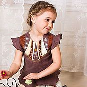 Работы для детей, ручной работы. Ярмарка Мастеров - ручная работа Летний костюм для девочки БАРЫШНЯ. Handmade.
