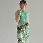 Одежда handmade. Livemaster - original item Summer skirt with a green pattern staple. Handmade.