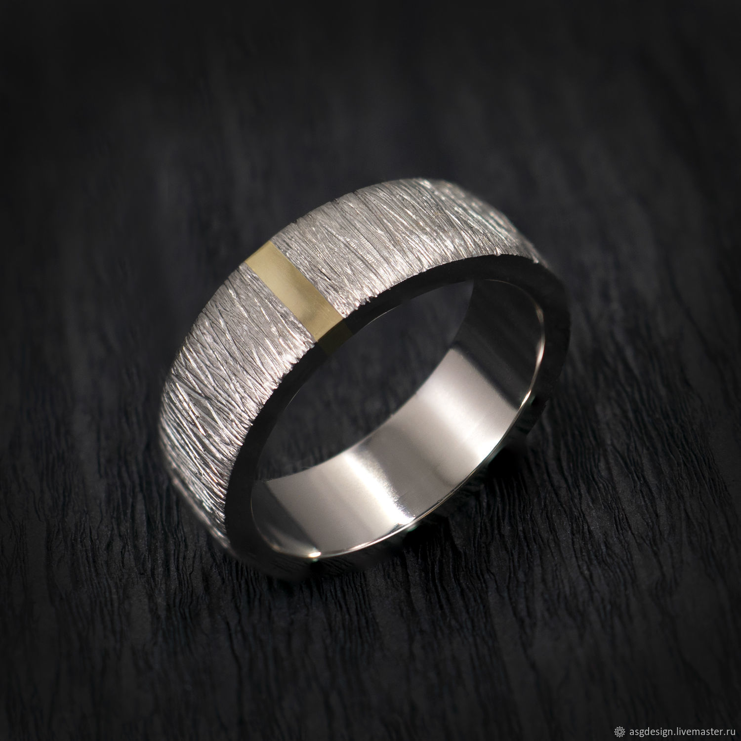 Titanium ring with gold insert and texture, Rings, Moscow,  Фото №1