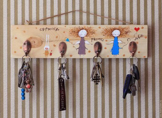 Прихожая ручной работы. Ярмарка Мастеров - ручная работа. Купить Ключница. Handmade. Бежевый, для интерьера, ключи, хайцы, деревянный