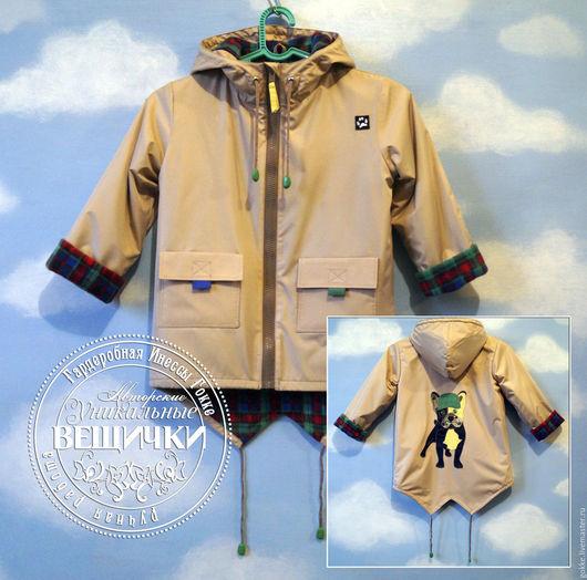 """Одежда для мальчиков, ручной работы. Ярмарка Мастеров - ручная работа. Купить Соло """"Француз в кепочке"""". Handmade. Бежевый, демисезонная куртка"""