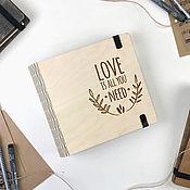 Канцелярские товары ручной работы. Ярмарка Мастеров - ручная работа Блокнот в деревянной обложке. Handmade.