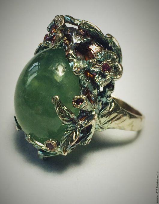 """Кольца ручной работы. Ярмарка Мастеров - ручная работа. Купить Крупное кольцо с  Пренитом """"Дриада"""" серебро 925. Handmade. Зеленый"""