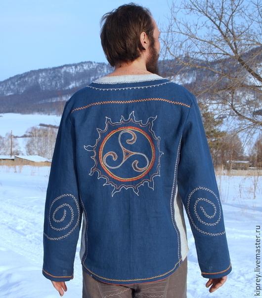 """Этническая одежда ручной работы. Ярмарка Мастеров - ручная работа. Купить Рубаха льняная мужская """"Царская"""". Handmade. Тёмно-синий"""