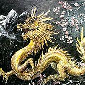 """Картины и панно ручной работы. Ярмарка Мастеров - ручная работа """"Золотой дракон"""" рельефная картина. Handmade."""