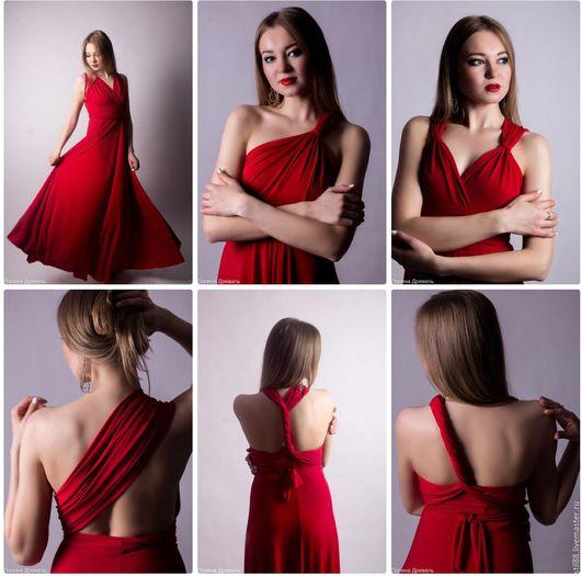 Платья ручной работы. Ярмарка Мастеров - ручная работа. Купить Платье трансформер на выпускной. Handmade. Ярко-красный