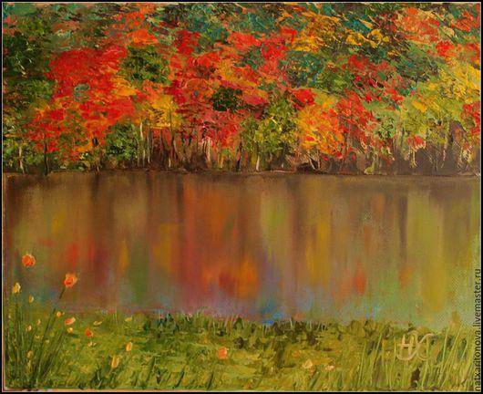 """Пейзаж ручной работы. Ярмарка Мастеров - ручная работа. Купить """"Осенняя радуга"""". Handmade. Комбинированный, пейзаж, картина маслом"""