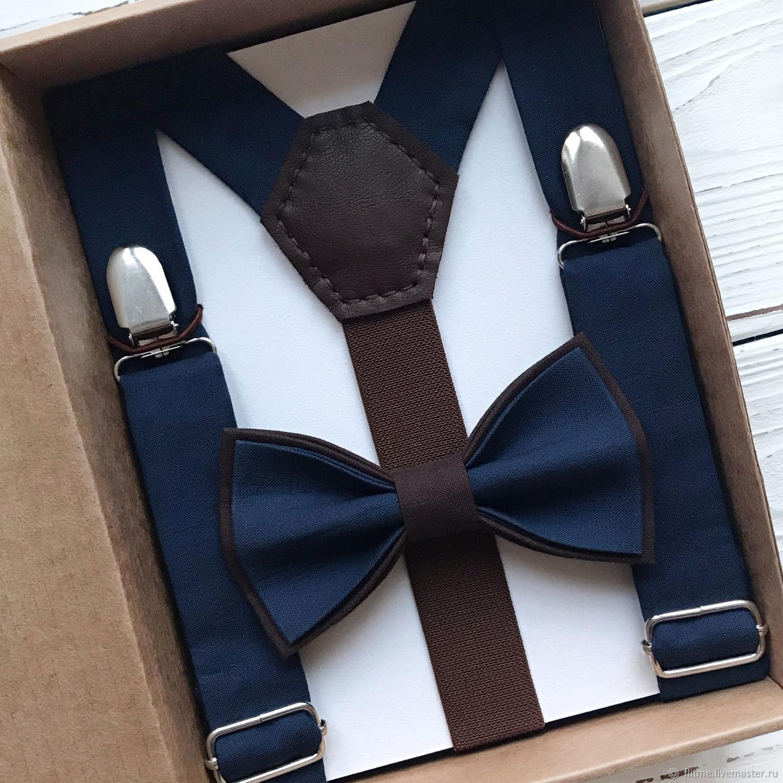 Подтяжки + бабочка сине-коричневые, Ремни, Москва,  Фото №1