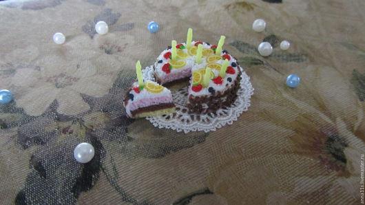 """Еда ручной работы. Ярмарка Мастеров - ручная работа. Купить Торт """"Наслаждение"""" Кукольная миниатюра.. Handmade. Торт, кукольный дом"""