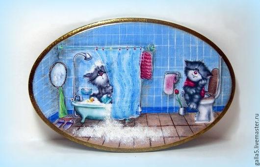 Ванная комната ручной работы. Ярмарка Мастеров - ручная работа. Купить Бирочка  на дверь ванно-туалетной комнаты.. Handmade. Голубой